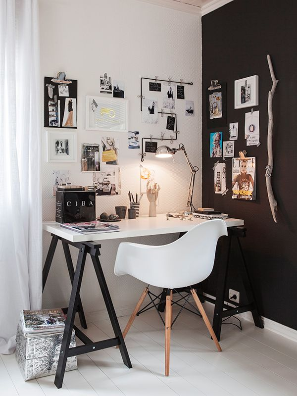 Modern home office with a touch of the outdoors: A rustic branch for decoration and for hanging things. dustjacket attic: Norway | Interiors | Black + White //Manbo