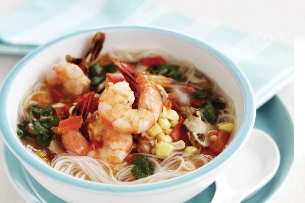 Thai style prawn & rice noodle soup