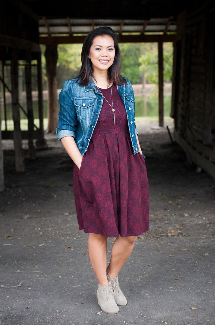 Lularoe Amelia Dress and Jean denim Jacket and booties ankle boots