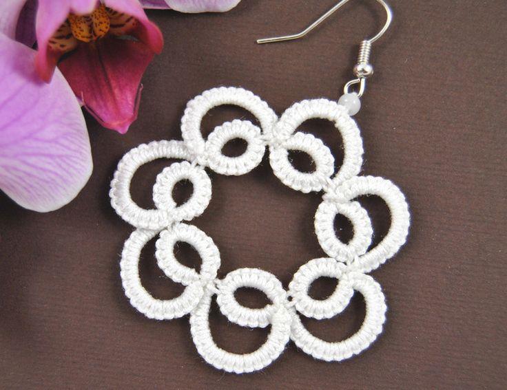 Kolczyki frywolitka koła w Positively Crazy na DaWanda.com #biżuteria#handmade#earrings#jewelry#art#koronka#beautiful#rękodzieło#ręcznie#robione#handicraft#buy#lace#kolczyki#frywolitka#wiszące#tatting#occhi#Ohrringe#Schmuck#Kunsthandwerk