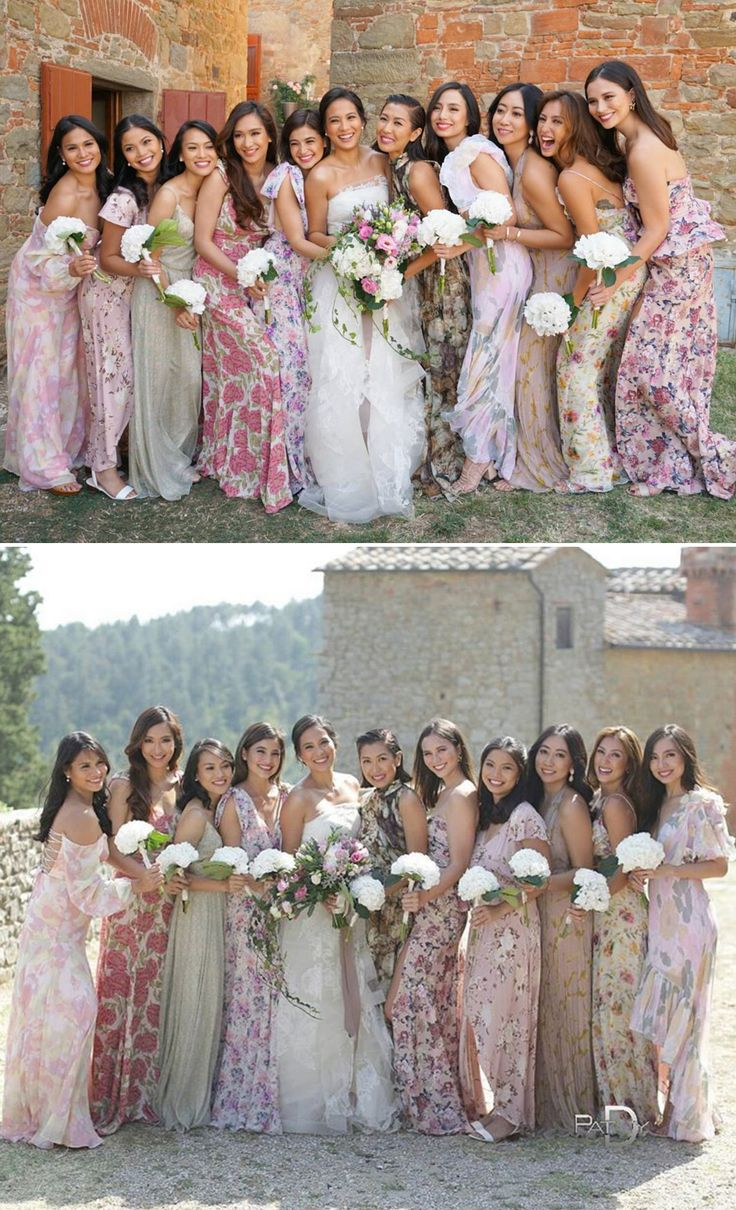 Bridesmaids in floral maxi dresses // Filipino actress Isabelle Daza's destination nuptials at Castello di Gargonza, Italy {Facebook and Instagram: The Wedding Scoop}