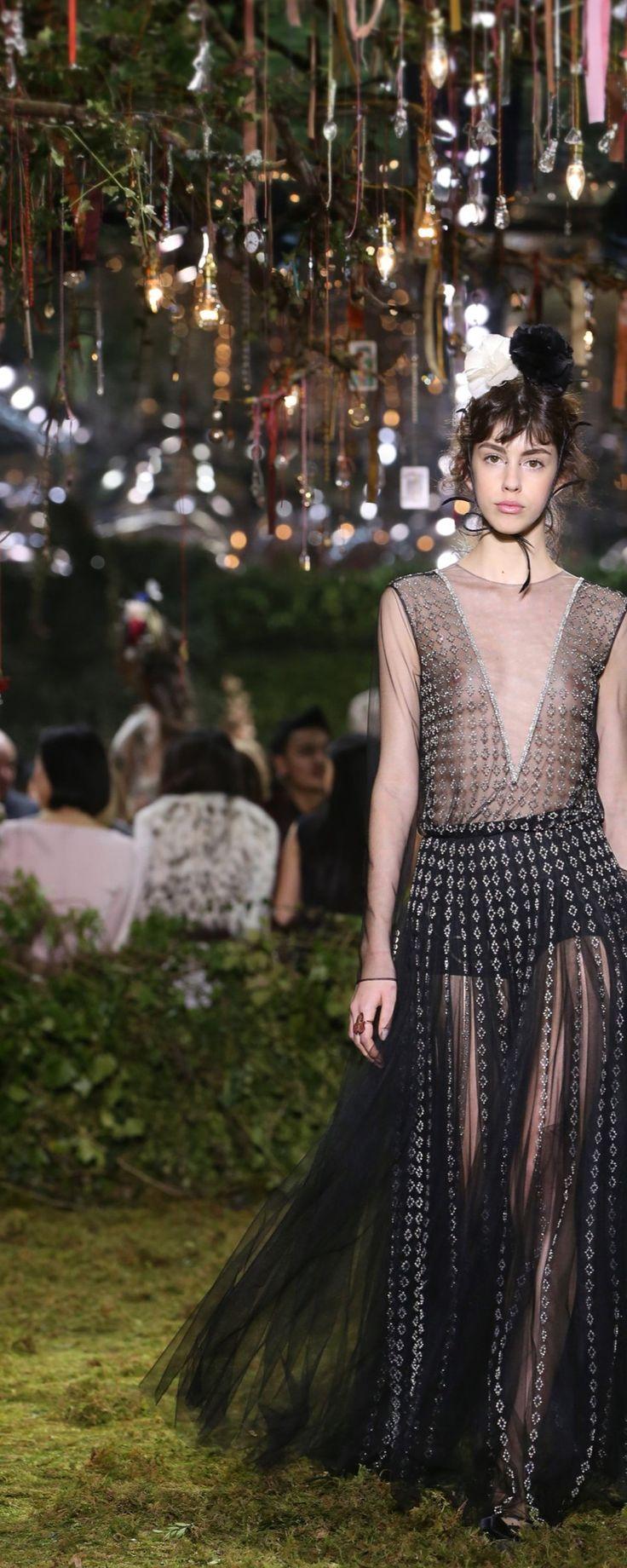 "Christian Dior Official pictures, S/S 2017 - Couture - ""Parcours d'Esprit"" - Black and pink tulle decolleté jumpsuit with silver losange embroideries. Feather carnation bandeau. - http://www.orientpalms.com/Christian-Dior-6609"