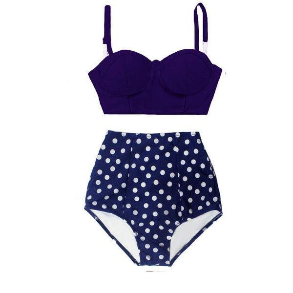 Navy Blue Underwire Wire Wired Top and Polka Dot Dots High Waisted... ($40) ❤ liked on Polyvore featuring swimwear, bikinis, grey, women's clothing, retro bathing suits, polka dot high waist bikini, high waisted retro bathing suits, swimsuits bikinis and swim suits