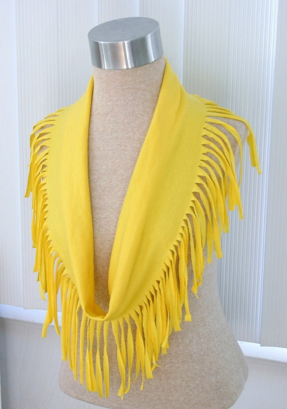 Recycled TShirt Scarf Yellow with Fringe