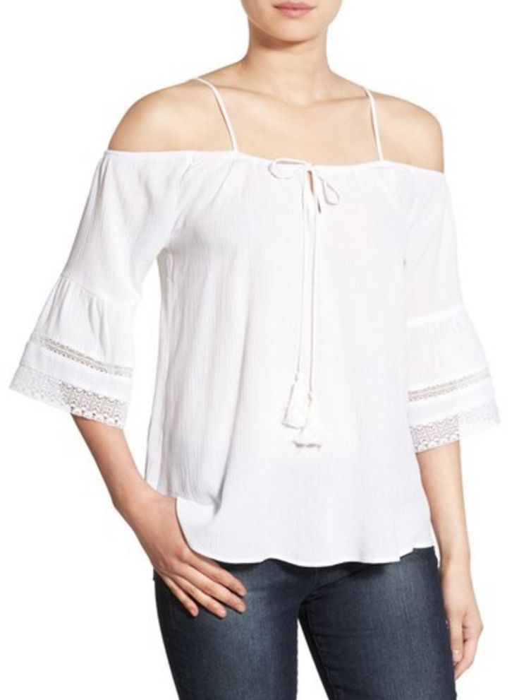 Off the shoulder, white peasant blouse with eyelet detail and trumpet sleeves