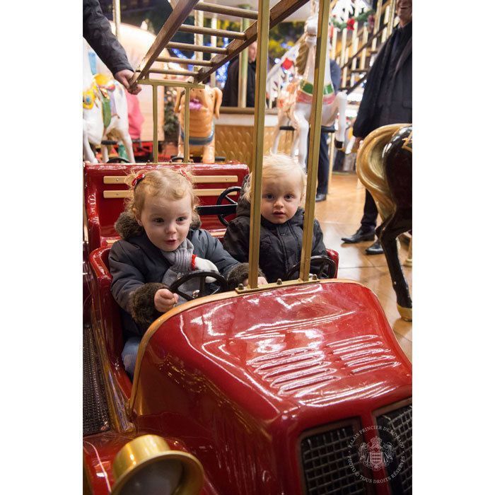 Princess Gabriella took the wheel for a ride on a carousel with her brother Prince Jacques during their visit to Monaco's Christmas Village. Photo: © Eric Mathon / Palais Princier