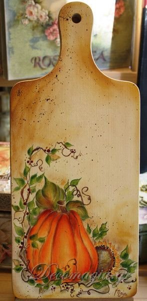 Cutting board painted with easy country painting