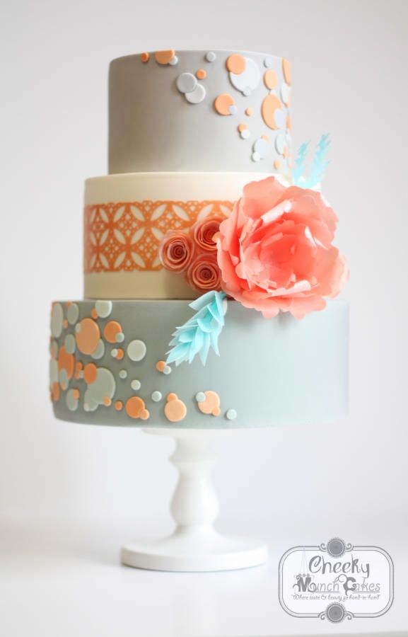 Peach and Grey Polkadot Wedding Cake with Wafer Paper Flowers - Cake by AC Saldua #peachweddingcake