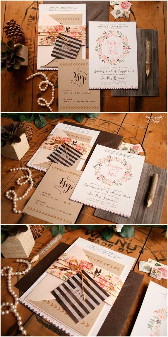 Boho Wedding Invitation Rustic Floral Invitation