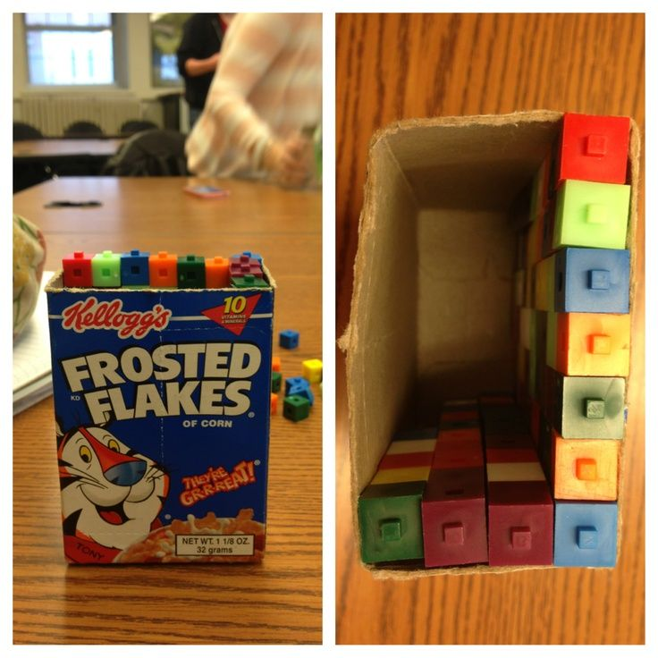 Using cereal boxes and cubes to determine area. Correlates with NYS Common Core Standard 4.MD.3 Apply the area and perimeter formulas for rectangles in real world and mathematical problems
