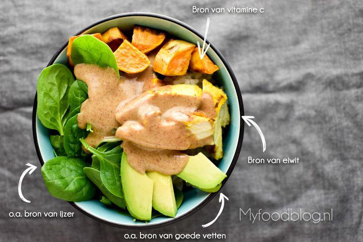 Buddha bowl met zoete aardappel, kip en rijst // recept door myfoodblog.nl // koken zonder pakjes en zakjes