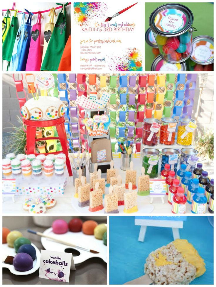Paint party collage kelly 39 s party ideas pinterest for Kids paint party