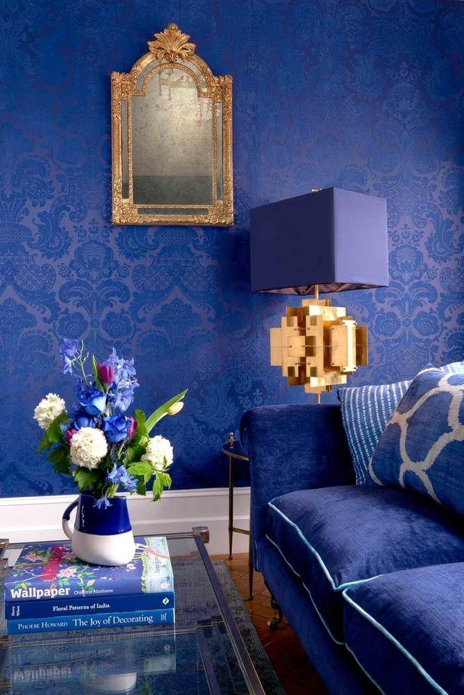 Petrouchka Royal Blue Blue Wallpaper Living Room Blue Bedroom Walls Royal Blue Wallpaper Blue wallpaper for bedroom