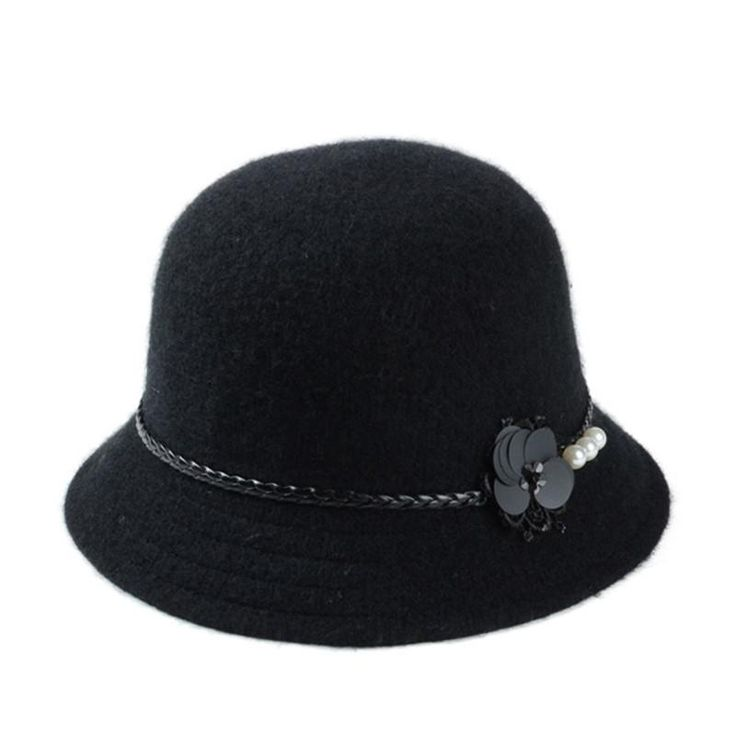 Vintage Stylish Fall Winter Fedoras Hat For Women Flowers Top Hat For Lady Girls Floppy Cartola Female Felt Bowler Cap