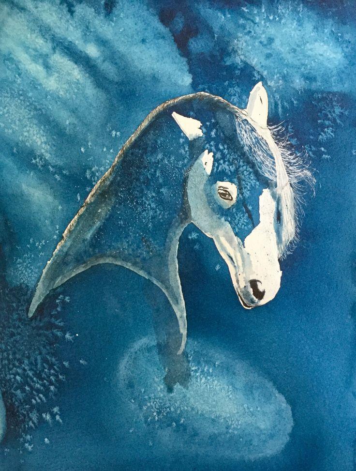 Midnight Stallion #art #watercolour #horse