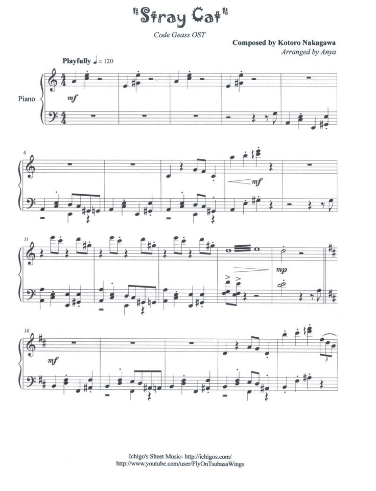 Stray Cat From Code Geass OST  Piano sheet music