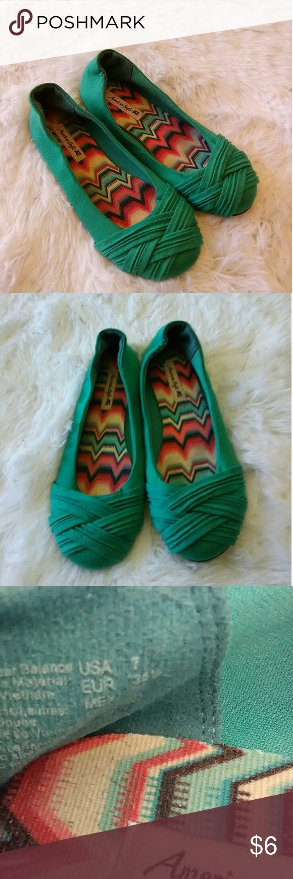 Teal Flats American eagle brand. Good pre-owned condition. If you have any questions or would like additional pictures feel free ask American Eagle Outfitters Shoes Flats & Loafers