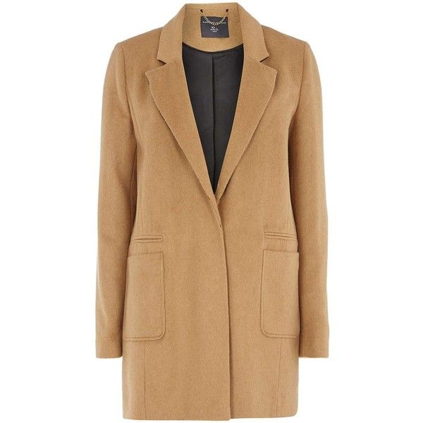 **Tall Camel Boyfriend Coat (£41) ❤ liked on Polyvore featuring outerwear, coats, white, white coat, boyfriend coat, camel coat, camel boyfriend coat and tall coats