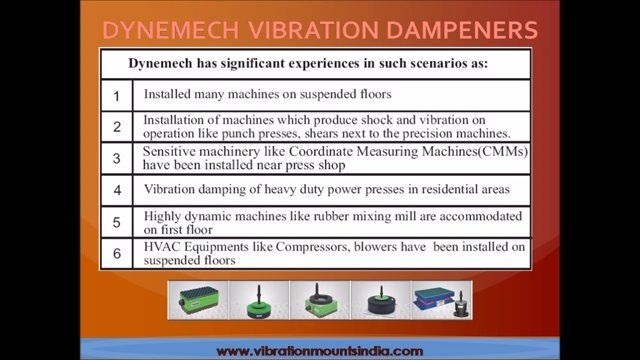 DYNEMECH Anti Vibration Solutions -cost effective measures to reduce the vibrations within acceptable limits.