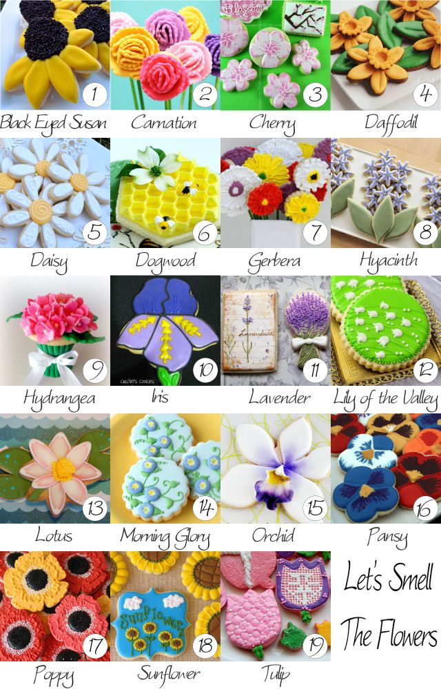 Hey, Take a look at all these beautiful cookies - designed to look like flowers. So, so pretty! The Orchid and the Lily of the Valley are my favorites!