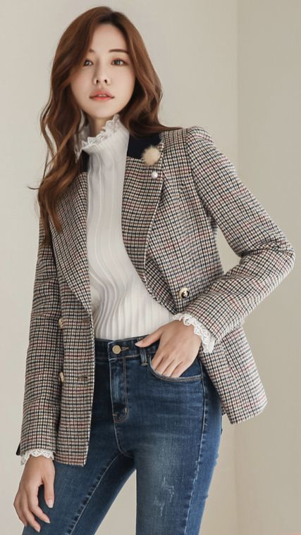 90a653e1bf9 StyleOnme Check Print Wool Blend Double-Breasted Jacket  check  wool  jacket   koreanfashion  kstyle  kfashion  wintertrend  dailylook
