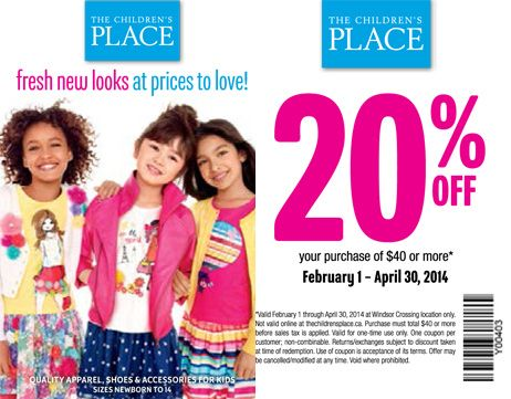 Take 20% off your purchase of $40 or more. Offer valid only at Windsor Crossing from February 1, 2014 to April 30, 2014.