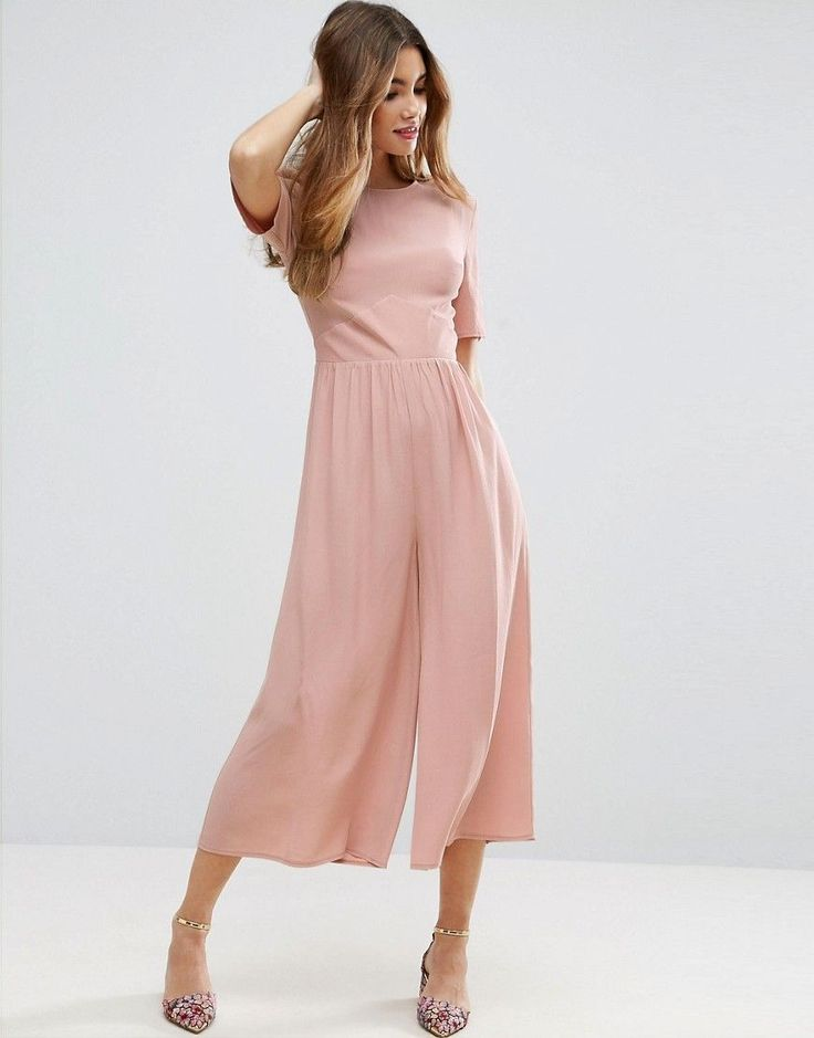 ASOS Tea Jumpsuit with Ruched Sleeve Detail - Pink