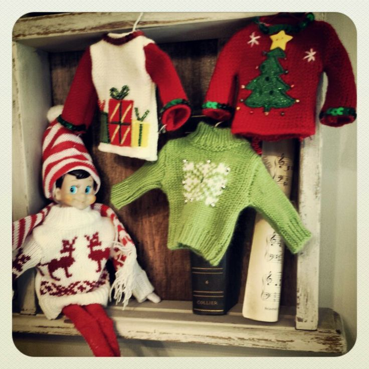 Sweaters ornaments at Micheals work perfect for elf clothing! Elf on the Shel...