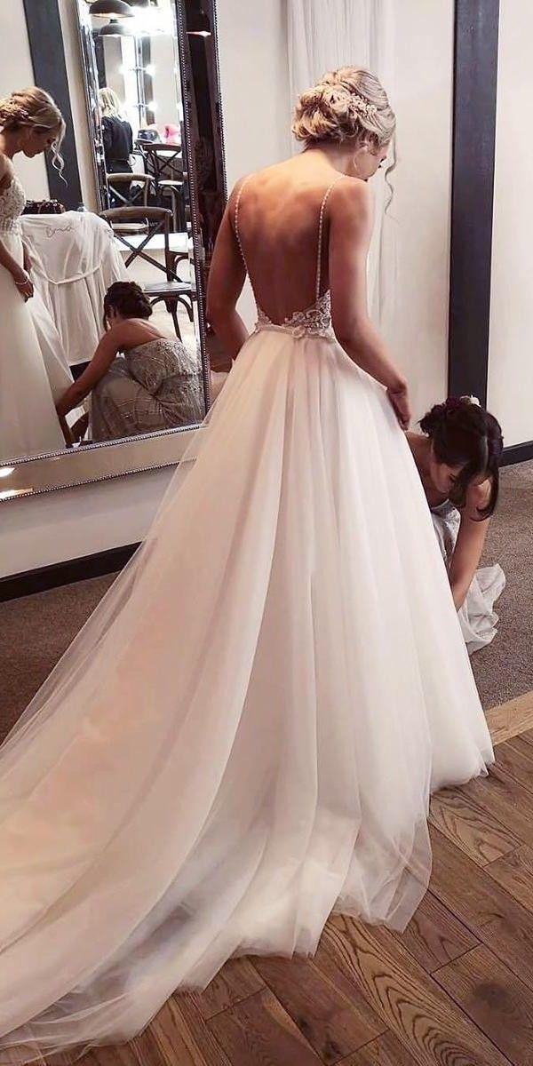 30 A Line Wedding Dresses 2020 2021 In 2020 Wedding Dresses With Straps Wedding Dress Low Back Wedding Bridesmaid Dresses