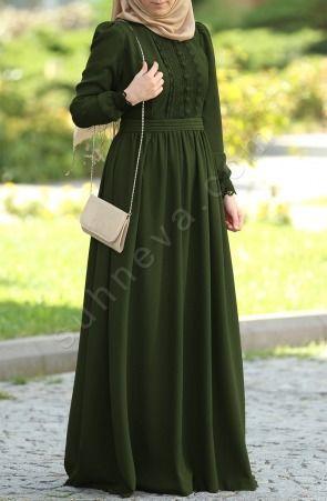 Suhneva - Dilbeste Dantel Elbise - Yeşil