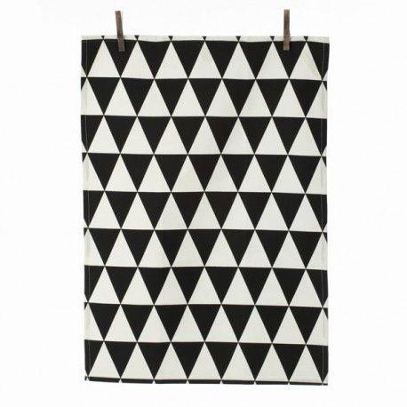Torchon en coton noir et blanc motif triangle par Ferm Living