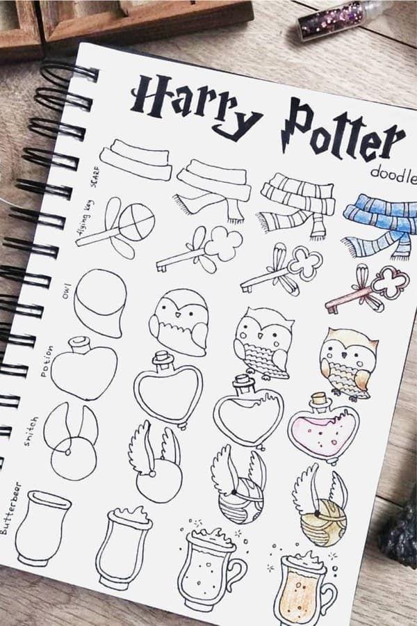 Harry Potter Doodles For Bullet Journal Inspiration In 2020 Crazy Laura Doodle Art Harry Potter Journal Coole Bilder Zum Zeichnen Einfache Sachen Zum Zeichnen