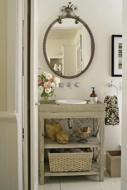 Digital Art Gallery Vintage bathroom with gray washed wood single bathroom vanity polished nickel wall mount faucet kit vintage oval mirror ivory u black damask towel and