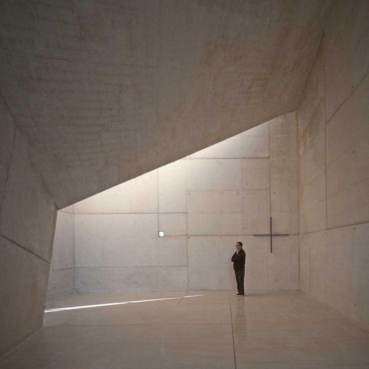 Prismatic chapel in Almadén http://www.morfae.com/prismatic-chapel-in-almaden/ #architecture #modern #chapel #church #concrete