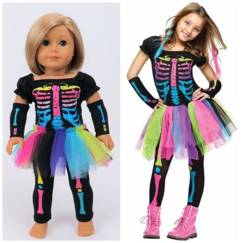 Electric Neon Skeleton Costume for Girls and American Girl dolls!! #Halloween…