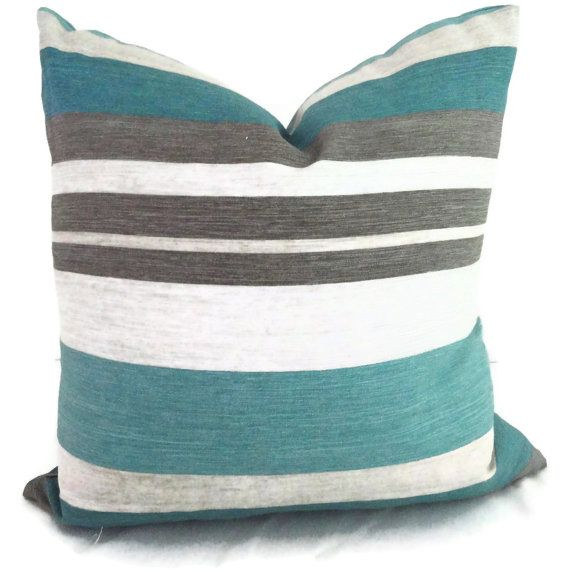 Turquoise Teal And Gray Stripe Linen Decorative Pillow