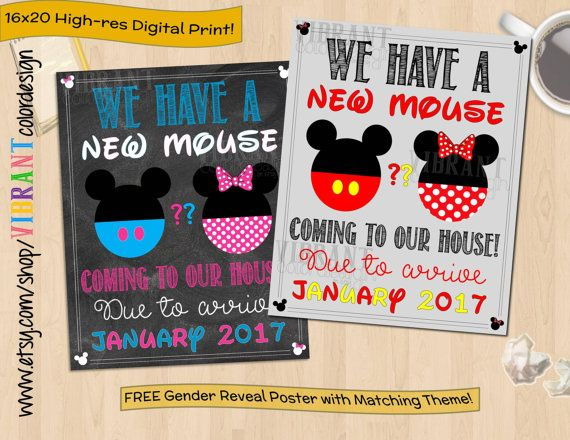 Disney Pregnancy Announcement Mickey Mouse by VibrantColorDesign