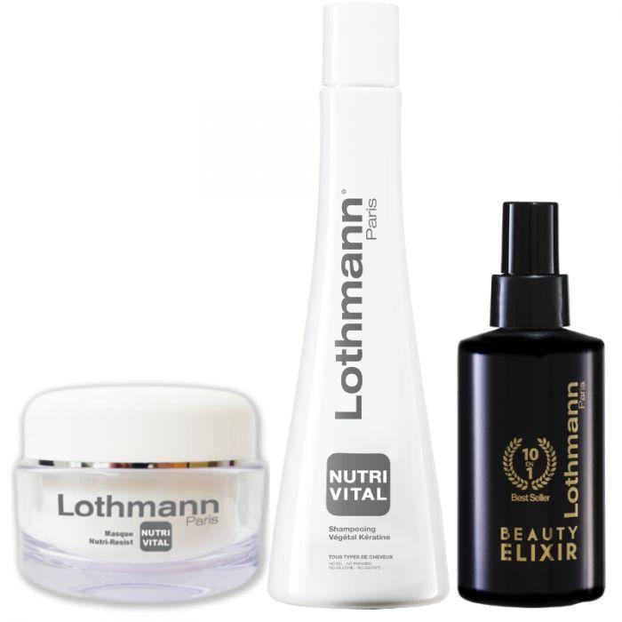 Best Sellers Lothmann Beauty Elixir, Shampooing Végétal Keratine,masque Nutri-Resist, bracelet et pochette offerte