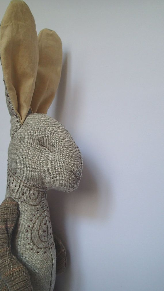 Artistic doll, artisan doll, home decor, handmade bunny, linen bunny, organic, eco, bunny, rabbit, stuffed bunny