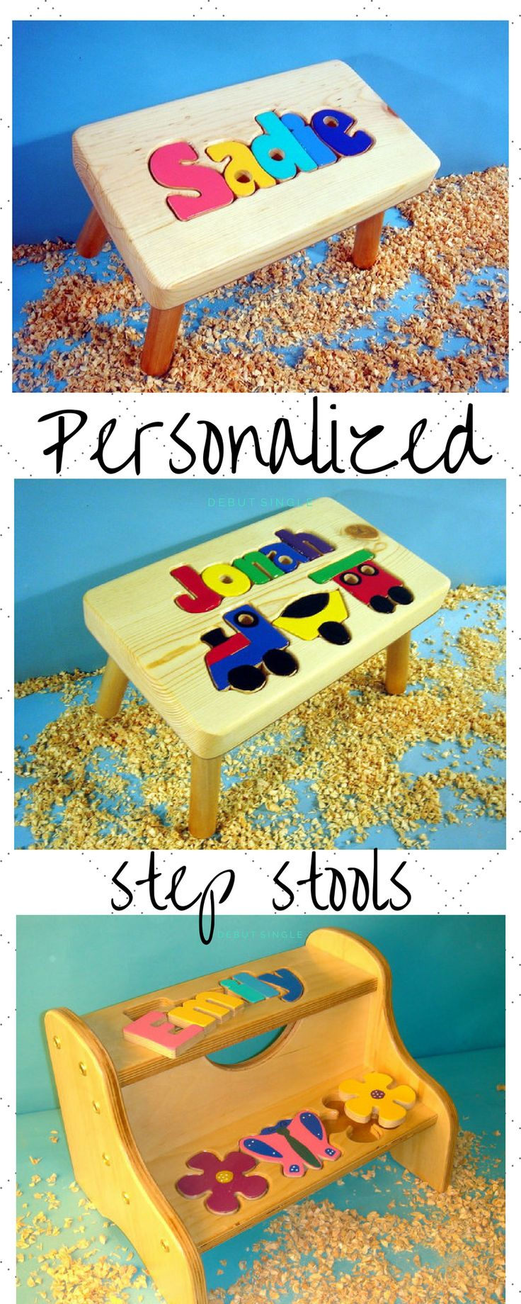 Handcut Personalized Puzzle Name Stools. The perfect gift for that special child in your life. #ad#handcut#handmade#etsy#stepstool#personalized#gifts#children#kids#toddler#puzzle#namepuzzle#christmas