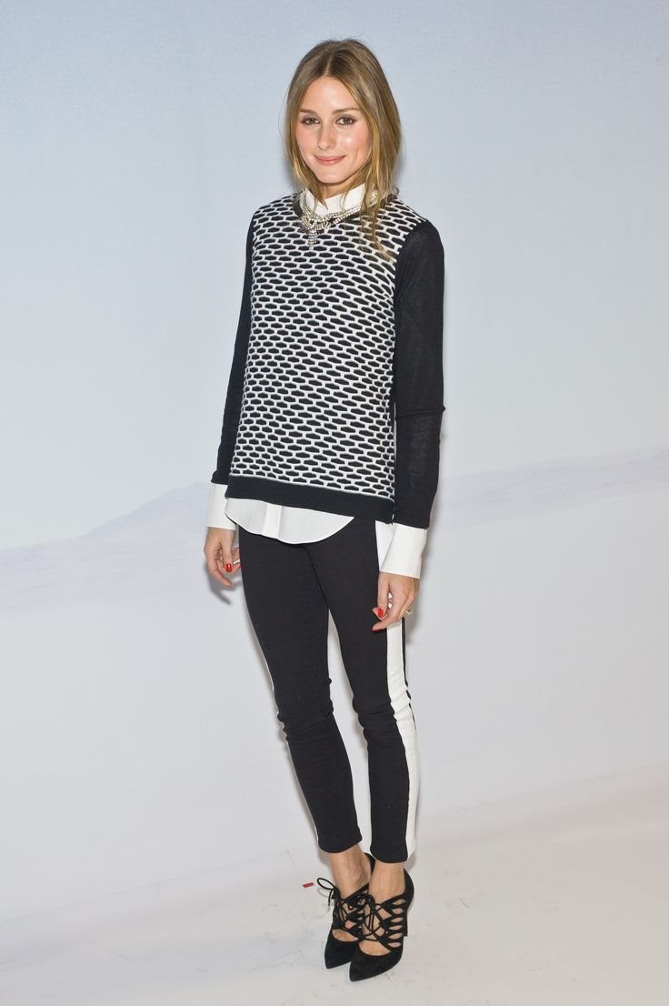 Olivia Palermo wearing a black and white Tibi sweater and Hudson jeans // #Office #Outfit #Style