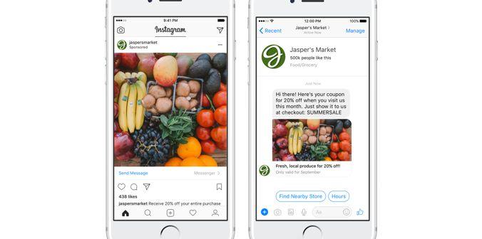 Instagram relie ses pages sponsorisées à Messenger.