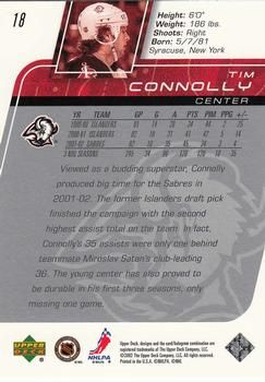 2002-03 Upper Deck #18 Tim Connolly Back