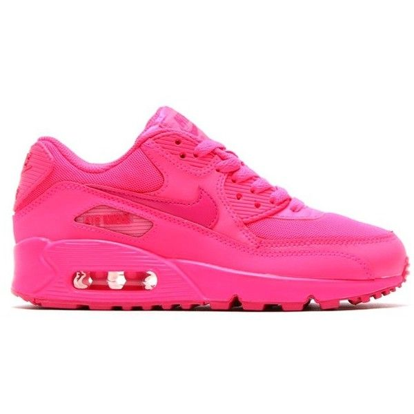 Nike Air Max 90 GS Turnschuhe für Damen Neon pink/Hyper Pink ❤ liked on Polyvore featuring shoes, sneakers, nikes, neon pink shoes, nike footwear, pink sneakers, neon pink sneakers and party shoes