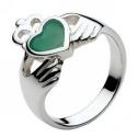 Silver & Green Agate Irish Celtic Claddagh Ring [1280-GA] - £31.50 : UK Celtic Jewellery, Beautiful Celtic Jewellery Collection
