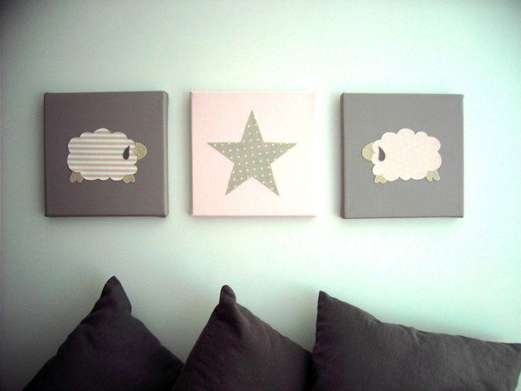 d coration murale pour chambre d 39 enfant tableau triptyque b b tableau pour chambre d 39 enfant. Black Bedroom Furniture Sets. Home Design Ideas