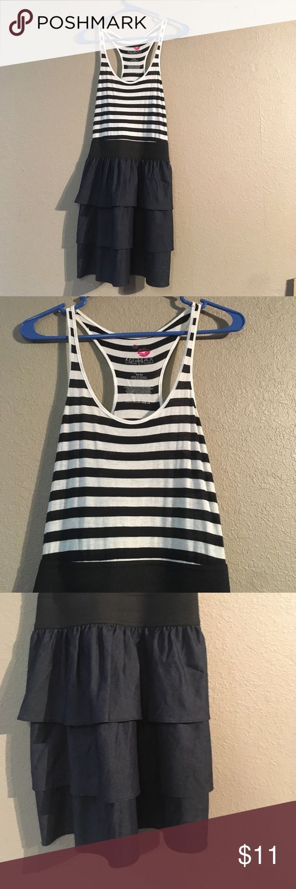 Black white Max Azria Miley Cyrus Size M Dress This dress is in wonderful condition. The upper body is made out of 100% cotton and the lower body is made out of 84% cotton and 16% polyester. It puffs out a little bit at the bottom. There's a waist band around the waist to have a perfect fit for you. This would be a perfect addition to your summer and spring closet. Miley Cyrus & Max Azria Dresses Midi