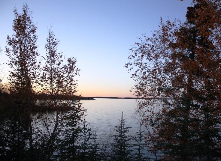 Shore of Gameti, Northwest Territories at night.