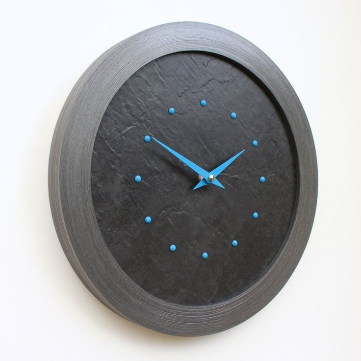 Slate Effect Wall Clock with Light Blue Studs and Hands