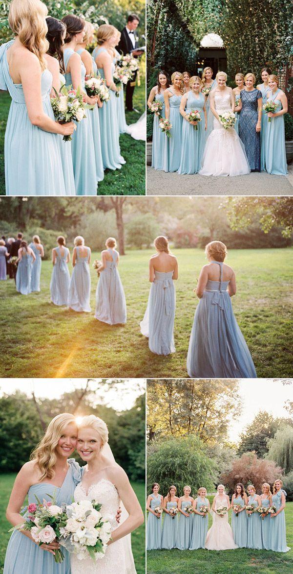 light blue mismatched style bridesmaid dresses